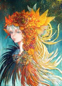 種田 梨沙:naissance - 花と少女の誕生と融合。【シリウス紙、アクリルガッシュ/ - 】