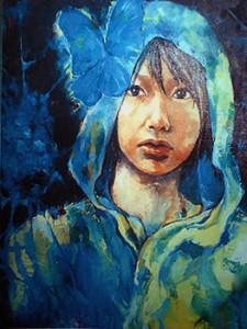 種田 梨沙:青繭 - 青をメインカラーにした作品です【油絵の具/F20号】
