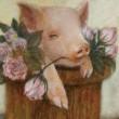 _________________ 可愛らしいピンクローズと豚を組み合わせて描きました。こんな花束はいかかですか?  _________________ F4号/油彩