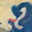 1970年ポプラ社から発行された小野木学作の絵本「かたあしだちょうのエルフ」 のオマージュ作品。【F8/膠、岩絵の具】