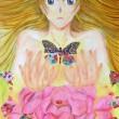 ________________ テーマは蝶を千代紙で入れる絵。 「蝶が生まれる」と「女の子の成長」をかけました。 ________________ B2/ケント紙、パステル、千代紙