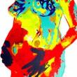 あの頃に帰りたい。妊婦さん大好き。 妊婦さんの体温サーモグラフィーと、胎児の胎内写真をシルクスクリーンで合体。【2008/297×400(mm)/アクリル、シルクスクリーン】