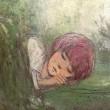 千葉 さちこ:眠る夢の中で - 夢と眠りについて、数点の絵と言葉で小さな物語を紡ぎます。この絵はその一枚です。【138×174mm /紙本着彩・箔】