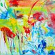 室井 麻未:ふりそそぐ - 春は景色が様々な色彩に変化をします。常に揺れ動く色やかたちを描きたいと思っています。【45.5×53.0cm/キャンバス、アクリル、色鉛筆、糸】