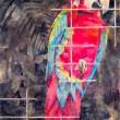 田村 佳奈子:睨む - 檻の中のインコの生命力を描きました。【P50/紙本着彩】