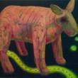 清水 香央里:ボケ - ピンク色のシマウマにたかる蟻です【F20号/キャンバスに油彩】