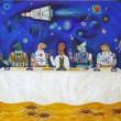 「この宇宙に乾杯!」 【P100号/キャンバス、アクリル、オイルパステル】