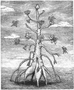 木下知美<br>いのちつなぐ花<br> 銅版画、ハーネミューレ、A4<br>