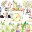 イソップ童話のアリとキリギリスの一場面です。【210×297/カラーインク、色鉛筆】