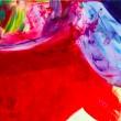 色彩や形が反応しあい、時には断絶しあう動きを表現したいと思い制作しました。【1455×1455mm /綿布、アクリル、パネル】