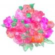 連作「psyche」プシュケ(蝶、魂)、「掌の珠」(大切なもの) 蝶が花から花へと遊ぶように、いい気な花の巴を掌にとる ほのかな薔薇の匂いに魅入るように、色よせの楽書をつなごう【150×150 mm /紙本着色】