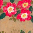 つるバラが好きです。中でもはっきりとしたカクテルがお気に入りです。【180×140 mm /パネル、アクリル、岩絵具】