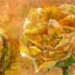 バラの香りがしてくるような花の絵画表現をテーマに、静かにそこに香るようなイメージで制作しました。【242×333 mm /雲肌麻紙、岩絵具】