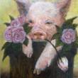 豚とローズを描きました。【335×240 mm /油彩】