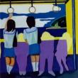 地元、宮崎での高校時代は毎日、電車に乗って通っていました。片道2時間半の登下校はあまり好きじゃなかったけど、仲良しの友達が下車してしまうまでのお喋りの時間は好きでした。【910×727mm /油彩】