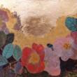 【蝋山 翠/Royama Midori - バラ/Bara】シンプルだけど、華やかな魅力がある、一重のバラが好きです。2011年女子美術大学大学院 日本画修士課程卒業〈242×410mm /岩絵の具、箔〉