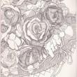 【伊藤 沙也香/Sayaka Itou - ささやく香り/sasayaku kaori 】花の魅力を描きます。一輪であったり束になったり。 2012年女子美術大学洋画専攻卒業〈386×267mm /ペン〉