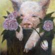 【高師 悠香里/Takashi Yukari - Pig Rose】豚とローズを描きました。2013年女子美術大学洋画専攻卒業〈F4 335×240mm /油彩〉