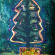 伊藤 沙也香:ほのかな煌めき - 【386×267mm/VIFART水彩紙、水彩絵の具。】クリスマスイブの夜、楽しいパーティが終わり寝静まるころ。明日のクリスマスへ向けて、ほのかに煌めいている瞬間です。2012年女子美洋画卒
