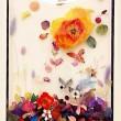 キム・チェリン[金彩麟]【韓国】:The Eternal Flower - 大きな一輪のお花を通して、永遠に萎まない少女の無邪気で純粋さを表した作品です。白いキャンパスに色んな花で、夢を読め込んで、青空を見上げている気持ちを表現しました。【364x515mm/木、紙、アクリル絵の具、ジェッソ、粘土】