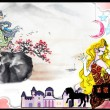 エン・ヒン[袁彬]【中国】:東と西 - 東方と西方の童話のストーリの中で似ている部分を結合して、東方人と西洋人の考えや性格などの相違を観察しだすことができる。似ている愛情の経験と探険の過程が異なる結末があつて、様々なおもしろい事を発見することができる。【A3 /フレームがなく、プラスチックの板、厚み:7mm 、周辺の色:黒、画面:普通の印刷】