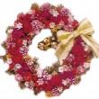 山下一美:夢のクリスマス フラワーリース紅 - 【350×350/木の実、フェイクの小花、飾りビーズ玉、リボン】デザインKAZUMI - 横浜スカーフ業界にて55年間スカーフデザイン原画を手がけ、他、アニマルアート、創作リース、人形、染色などを創作している。
