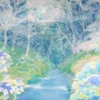 【中島 詩織/Nakajima Shiori - 紫陽花の小道/Path of hydrangea】去年の6月に紫陽花の小道を訪れたときに着想を得ました。私自身紫陽花は神秘的で、この世のものではないような不気味な美しさを漂わせる魅力的なモチーフだと感じています。その魅力が引き立つような幻想的な情景を描きました。女子美術大学大学院美術研究科美術専攻修士課程日本画研究領域1年〈1940×1303ミリ /紙本着彩〉