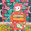 【藤原 宇希子/Ukiko Fujiwara - メカシちゃん/ALL dolled up!】自然の生き物の本来持つ独特な形、鮮やかな色彩、奇抜な模様には、いくら人間がおめかししても到底追いつけないおもしろさと驚きが詰まっています。小さい頃から、私にとっての憧れです。女子美術大学大学院美術研究科美術専攻修士課程日本画研究領域1年〈410×318ミリ /雲肌麻紙、岩絵の具、薄美濃紙、マーブル〉