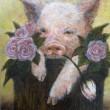 【高師 悠香里/TAKASHI Yukari - pigrose】豚と薔薇を組み合わせて作品を描きました。 ―1985年生まれ、2012年に女子美術大学を卒業後、東京都公立学校の講師として勤務。温かさをテーマとして作品を制作している。〈F4(33.3×24.2ミリ) /クレヨン 油彩〉
