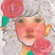【齋藤歌織/SAITO Kaori - 花と女の子】花と寄り添う女の子の感情や思いを色と形で表しました。 ― 2012年 女子美術大学絵画学科洋画専攻卒業、2009年 デザフェスギャラリー「ふたりぼっち展」、2011年11月 ギャラリーフォレスト「浮遊する私展」、2013年 5月art gallery, on the wind 薔薇展2013 12月art gallery, on the wind クリスマス展2013〈297 × 210mm /ペン、アクリル絵の具〉