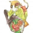 【田村 佳奈子/TAMURA Kanako - おいしいごはん】食べ物と動物を描いたシリーズの一点です。日本をテーマにしています。 ― 2013年女子美術大学卒業2011年11月、絵本と漫画の創作教室展に参加〈148×105mm /透明水彩〉