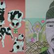 チョ・ヘヨン[趙慧娟]【韓国】:韓国と日本の象徴 - 韓国のお金10000ウオンの中にいるセゾン大王と日本で普通に見える猫を描いてみました。韓国の紙幣の中にいる人物は韓国を代表する人物で,日本でも猫は昔から普通に見える動物で日本の猫とハングルを作った有名な人物セゾン大王がいる紙幣を描きました。【394mm x 545mm/油絵】