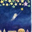 ゴ・ボン[伍梵]【中国】:夜 - 眠れない夜に星空を見て、もし星様が私を連れて夜空に飛んで行ったら、気持よくて眠れるかなぁと思い、イメージの通り描きました。【320×460/水彩】