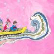 ハン・へジン[韓惠軫]【韓国】:波の中の遠足 (A picnic in waves) - 手前にある大きい波が見える中で3人のグループとイルカが危険より楽しさを伝えている。反対の半球にあるオーストラリアのクリスマスを連想しながら、大変さの中の楽しさを表そうとした。【545 x 394mm/アクリル】