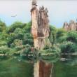 コウヨウ[高陽]【中国】:山水 - これは中国の雲南省野の石林の風景です。自然、静かなテーマを表現します。【60cm*80cm/油彩】