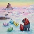 船岡 和代:ある雲の上の風景 - 沖縄のシーサーを元にしたキャラクターで、雲を食べて暮らす穏やかな生き物の親子です。【80×180/キャンバズ、油絵の具】