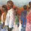 工藤優果:緋に沁みる - 色を感情としてイメージし、伝える事をテーマに制作しています。この作品は人の芯の強い様を緋色をテーマに描きました。【1620×1303/雲肌麻紙、岩絵の具、銀箔】