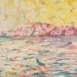 中島彩:しまなみ - 塩飽諸島で制作した作品で、島の天候はかわりやすく、朝に雨が降り、午後の空にはまぶしい光が見える。海の模様、島の表情も天候が左右している。その様子を表現しました。【2330×910mm/雲肌麻紙 岩絵具】