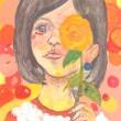齋藤歌織:「花と女の子」 - 花といっしょにいる女の子の気恥ずかしい思いを描きました。略歴:2008年女子美術大学入学、2009年デザフェスギャラリー「ふたりぼっち展」、2011年11月Gallery 銀座フォレスト「浮遊する私展」、2012年女子美術大学卒業、2013年on the wind 「薔薇展」、2014年on the wind 「薔薇展」【210 × 297mm/アクリル、水彩】