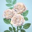 船岡和代:「白いバラ」 - 白い薔薇の持つ、軽やかで繊細、純粋なイメージを表現しました。2012年女子美術大学卒業、卒業後作家活動を続ける。【F4号(タテ333×ヨコ242mm)/油絵】