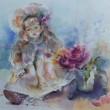 國本真理子:「イノセンス」 - 薔薇と人形と空気を描きました。 1981年エリザベト音楽大学ピアノ科卒業。1995年渡米してアートを始める。【460×520mm/水彩】