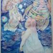 美里 澄香:クラゲと少年少女(一部) - 朝と夜 海の底にいる少年少女と深海を漂うクラゲの群れを描きました。不安な未来をじっと見つめ身を寄せあっている心象風景を表しました。 阿佐ヶ谷美術専門学校視覚デザイン科在学中【水彩・アクリル画/B2(515×728mm)】