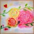 市川 七重:あいのばら - 薔薇の色によって違う花言葉や、美しい薔薇に毎年向き合えることを嬉しく思いながら作品を作りました。:2009年 女子美術大学卒業。ギャラリーにて展示活動を行う。【606×606/アクリル】