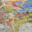 中島 彩:海の見える丘より - いつもの景色だけれども、みるたびに表情をかえている。 丘からみた海はどんな表情だろうか。:女子美術大学大学院美術研究科博士前期課程美術専攻日本画1年【F150号(2275×1820)ミリ/麻紙、岩絵の具】