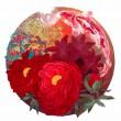 田島 萌香:Japanese Red - 2015年7月制作。それぞれの季節を代表する赤い植物で日本の四季を表現しました。:女子美術大学大学院美術研究科博士前期課程美術専攻日本画1年【1167×1167ミリ/土佐麻紙、アートグルー、岩絵具、水干絵具、胡粉】