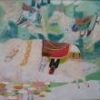 太田 あゆみ:シープベルを鳴らせば - はずむように、かろやかに、進むその先が明るくやさしい場所でありますように。:女子美術大学大学院美術研究科博士前期課程美術専攻日本画1年【F150/麻紙、岩絵の具、箔】