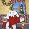 山下 一美:ボッチャンの楽しいクリスマス - 1940年横浜生まれ、1955年父親の指導で横浜スカーフのデザインを始めて58年、スカーフはペイズリー柄を得意とし、横浜スカーフコンクールでは神奈川県知事賞など数多く受賞、現在は動物(猫、犬)、花模様の絵、クラフト制作、小さな銀杏の雛人形などを制作しております。【40×30 /ケントボード、ポスターカラー、インク】