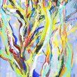 中島 彩:しゅっと - 幹は真っ直ぐに太陽へと力強く伸びてゆく。女子美術大学大学院美術研究科博士前期課程美術専攻日本画研究領域1年在籍中【1940×970mm /麻紙、岩絵の具】