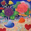市川 七重:ゆめのばら - 毎年薔薇を描いています。夜と夢と薔薇と、好きなように描いてみました。2007年 女子美術大学芸術学部絵画学科洋画専攻 卒業 現在 児童養護施設職員【652×652mm/アクリル、キャンバス】