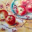 井上 美穂:林檎 - 水彩のにじみ、ぼかしそして色の美しさを追求する。 水彩画家、1982年 女子美術大学芸術学部芸術学科造形学専攻卒業【450×570mm /水彩絵の具、水彩紙】